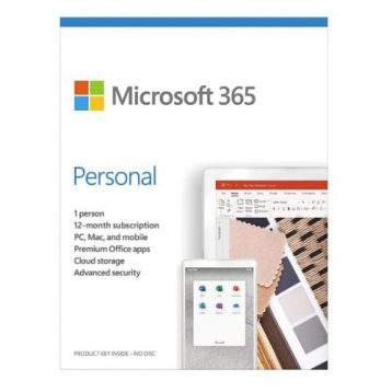 Microsoft Office 365 Personal, 1 User, 1 Device, 1 Year Subscription, 32 & 64 bit, Medialess
