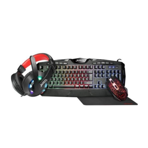 Jedel CP-04 Knights Templar Elite 4-in-1 Gaming Kit - Backlit RGB Keyboard, 1000 DPI RGB Mouse, 40mm Driver RGB Headset, XL Mouse Mat
