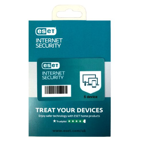 ESET Internet Security Retail Box 10 Pack – 10 x 5 Device Licences  - 1 Year - PC, Mac, Linux & Android