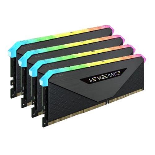 Corsair Vengeance RGB RT 32GB Memory Kit (4 x 8GB), DDR4, 3600MHz (PC4-28800), CL18, XMP 2.0, 10 LEDs, AMD Optimised, Black